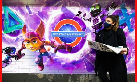 Artwork at Lancaster Gate station, London promoting the UK launch of PlayStation 5