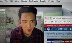 John Cho in Searching, which takes place entirely on smartphone and laptop screens.