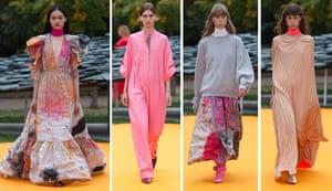 ROKSANDA  Nestled under grey skies and the slate-tiled roof of Junya Ishigami's pavilion installation at the Serpentine gallery, Roksanda unleashed her sunny disposition. The punchy hues that have become her calling card were worked into billowing evening gowns but also appeared as pops on polo necks and sweaters the pink jumpsuit claimed the prize for most iPhones raised). Elsewhere, her palette explored less painterly and more punchy prints. A graffiti effect appeared on trousers and crinkled dresses, while cosmic-coloured explosions adorned full-length gowns.