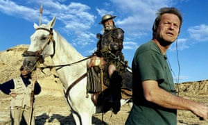 Jean Rochefort with Terry Gilliam during the early filming of The Man Who Killed Don Quixote, scenes which featured in the 2002 documentary Lost in La Mancha, about the protracted film project.
