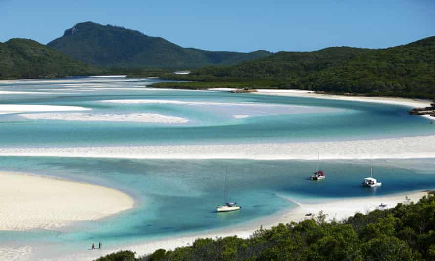 The swirling sands of Hill Inlet in Queensland's Whitsunday islands.