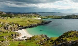 Beaches and coastal scenery at Achmelvich Scotland