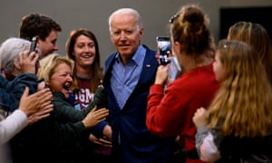 Joe Biden arrives to speak at a rally in Conway, South Carolina, on 27 February.