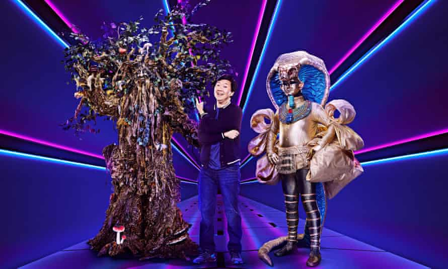 Ridiculously naff ... Tree, Ken Jeong and Pharaoh of The Masked Singer.