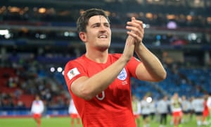 Manchester United target Harry Maguire, celebrating England's win over Colombia at the World Cup.