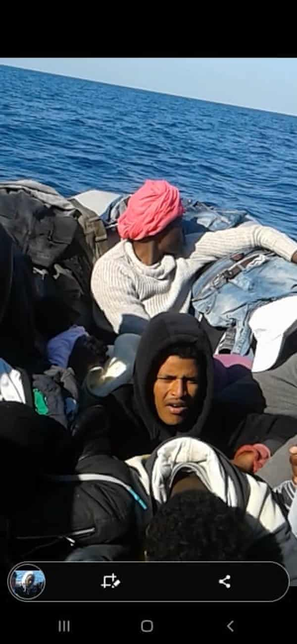 A photograph taken aboard the dingy that was allegedly pushed back by Malta to Libya.