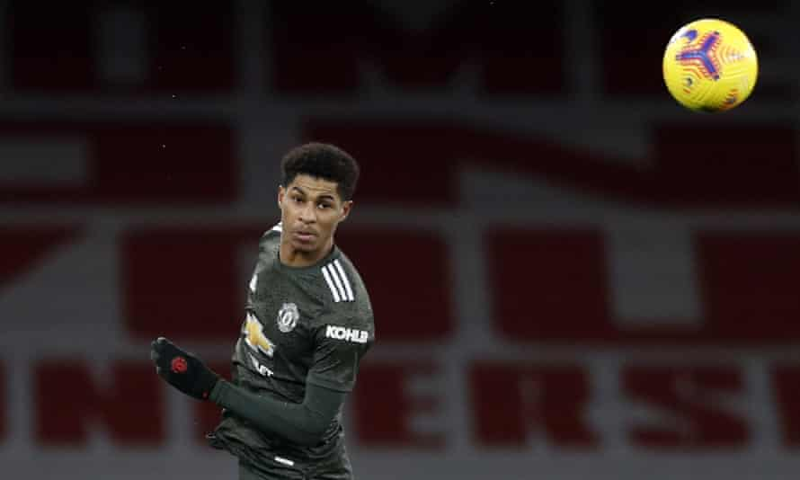 Marcus Rashford of Manchester United during the Premier League match between Arsenal and Manchester United at Emirates Stadium on 30 January.