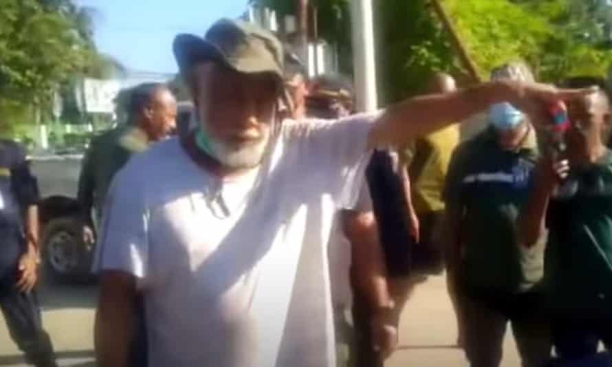 Xanana Gusmão leads the protest outside the hospital