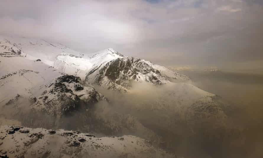 Air pollution blankets a mountain range in Tehran, Iran, December 2020.