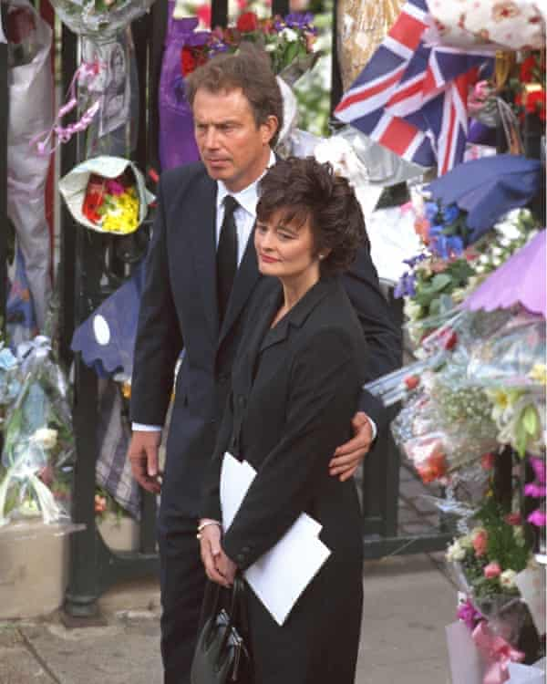 Tony Blair and his wife, Cherie, at the funeral of Princess Diana in 1997.