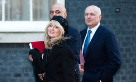 Iain Duncan Smith, right, with Sajid Javid and Esther McVey outside 10 Downing Street, 2015.