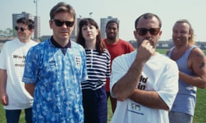 New Order, Keith Allen and John Barnes on location for the filming of the iconic 'World in Motion' video.