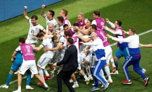 Russia celebrate winning the penalty shootout.