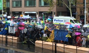 Protesters shut down parts of Macquarie Street  on Tuesday