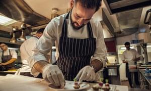 Joni Francisco, chef de partie, prepares a dish at Gauthier Soho in London