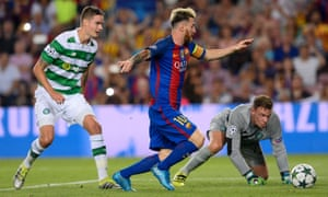 Messi taps home from close range as Celtic defender Mikael Lustig and goalkeeper Dorus de Vries can only look on.