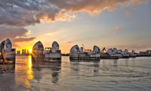 The Thames Barrier at sunset