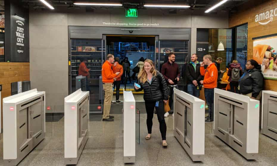Shoppers present the Amazon Go app at the front of the store and begin shopping.