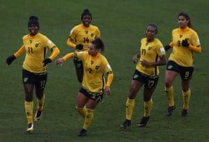 Bunny Shaw, Deneisha Blackwood, Lauren Silver, Allyson Swaby and Marlo Sweatman of Jamaica
