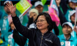 Tsai Ing-wen, Taiwan's president and presidential candidate from the ruling Democratic Progressive party (DPP), waving to supporters at a campaign rally this week