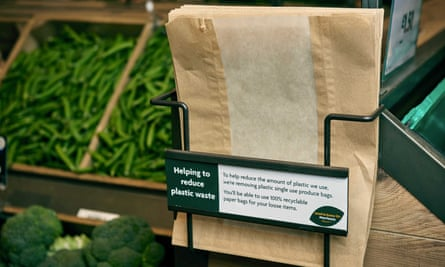 Morrisons says the100% recyclable paper will prevent 150m small plastic bags being used a year.
