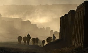 An Afghan Hazara shepherd walks with his flock on the former Silk Road that once linked China with Central Asia and beyond.