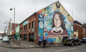 A mural on the Falls Road in Belfast depicting Bobby Sands.