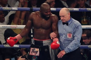 Carlos Takam asks the referee why he stopped the fight.