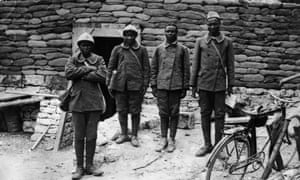 Senegalese soldiers in the French town of Oise during the First World War.
