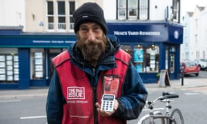 Big Issue vendor, Kris Owen, with his new iZettle card reader.