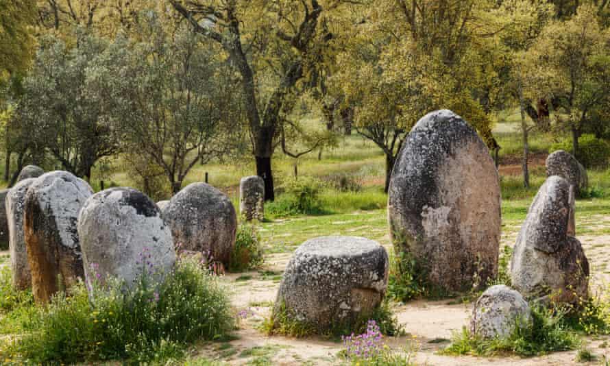 Cromeleque dos Almendres, Portugal.near Evora, Evora District, Alentejo, Portugal. Megalithic site of Cromeleque dos Almendres. A grouping of 95 granite monoliths.