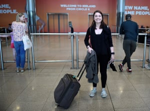 Claire Scanlan arrives at Dublin airport from Budapest, where she is studying, to vote in the referendum