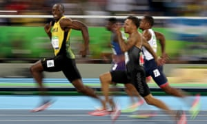 Usain Bolt, seen here in the 100m semi-finals at Rio, is after a 'triple triple' of three successive 100m, 200m and 4x100m titles as well as a new 200m world record.
