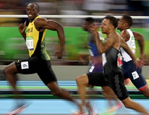 Usain Bolt's famous smile during the 100m semi-final in Rio.
