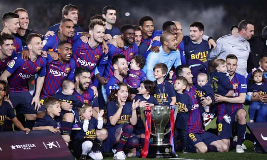 Barcelona celebrate in April after winning the 2018-19 La Liga title