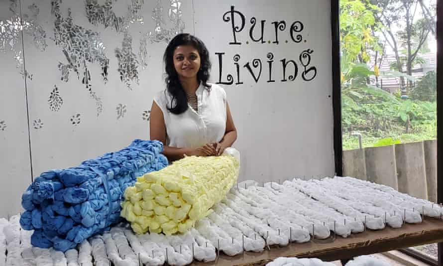 Lakshmi Menon with her mattresses made of scraps left over from PPE manufacture: 'It was the best material I could have wished for.'
