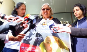 Della Roe, Ms Dhu's mother, Carol Roe, her grandmother, and the Human Rights Law Centre's Ruth Barson address the media ahead of a hearing in the coroner's court in Western Australia about the release of CCTV footage.