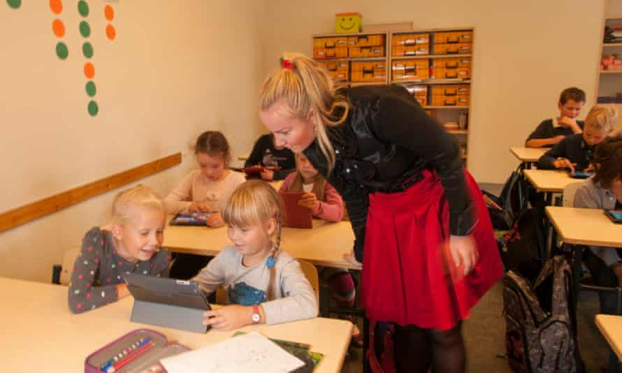 Children using iPads at a school in Tallinn