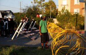 Demonstrators at barricade
