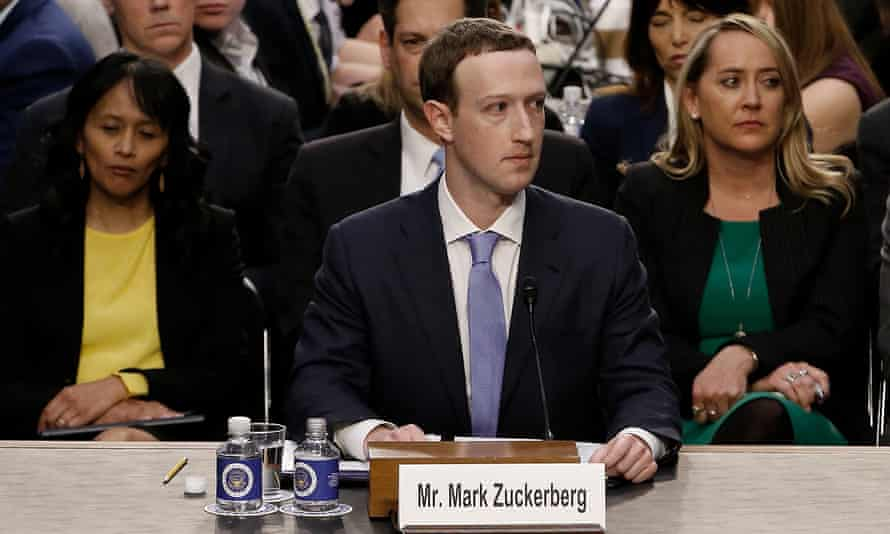 Mark Zuckerberg testifies at a joint Senate commerce and judiciary committee hearing in Washington DC on 10 April.