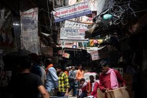 Pharmacy shops at Bhagirath Palace's pharmaceuticals market in Old Delhi, India.