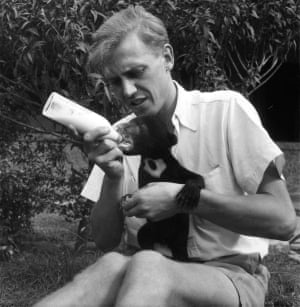 Attenborough with Benjamin the bear cub, a a Malaysian sun bear, who at first needed to be fed every three hours. 'It was not until several weeks later that he began to walk but as soon as he did so his character appeared to changed. As he tottered and swayed across the ground, smelling everything and grumbling to himself, he seemed no longer to be an impatient demanding creature, but rather an endearing puppy and we both developed a strong affection for him.'