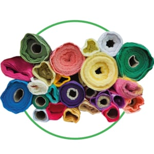 Rolls of fabric cut-out inside green-rimmed circle