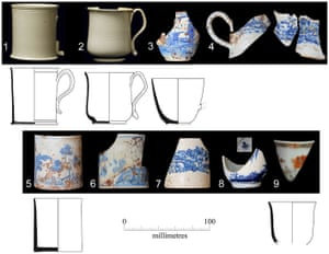 Some of the cups rescued and documented by the archaeological unit.