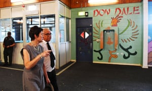 Commissioners Mick Gooda and Margaret White tour the former Don Dale youth detention facilities in the Northern Territory on Wednesday.