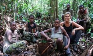 Livia Simoka (third right) with members of the Mbendjele tribe