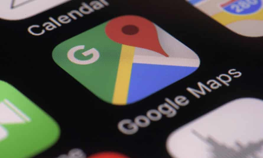Phone screen with Google Maps app on it