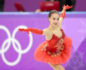 Alina Zagitova of Olympic Athlete from Russia on her way to winning gold in the Winter Olympics