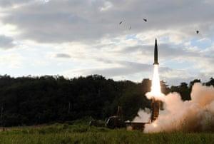 South Korea's Hyunmoo II ballistic missile is fired.