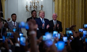 Donald Trump and Mike Pence at the Young Black Leadership Summit at the White House.